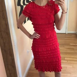 SARA CAMPBELL red frill dress size small